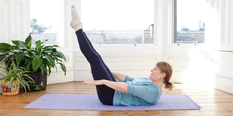 "Jane Hamilton doing the Pilates move ""Double Leg Stretch"""