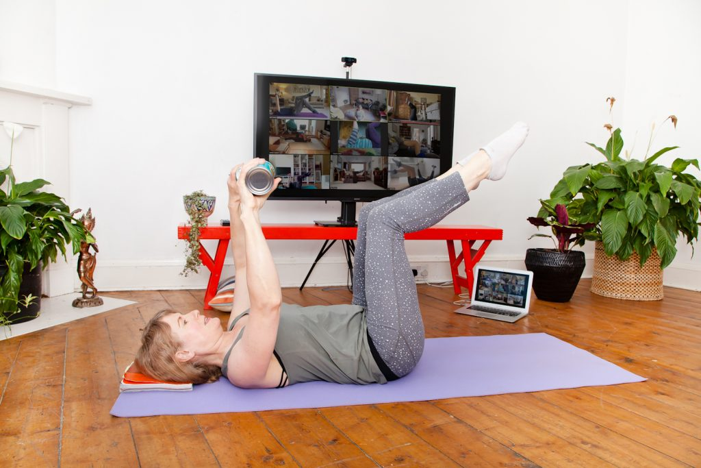 Jane Hamilton taking online Pilates class